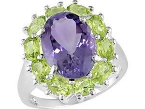 Silver 7-1/4ct TGW Flower Ring w/Oval 4x3 -5x3mm Peridot & Oval 14x10mm Amethyst