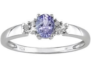 10K White Gold .05 ctw Diamond and Tanzanite Ring