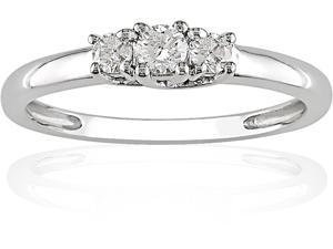 10K White Gold 1/4 ctw Diamond Three-Stone Engagement Ring I-J,I2-I3