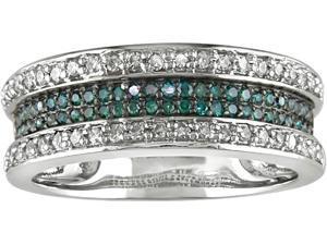10K White Gold 1/3ctw Blue and White Diamond Ring