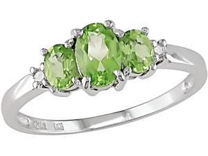 10K White Gold .02 ctw Diamond and Peridot Ring