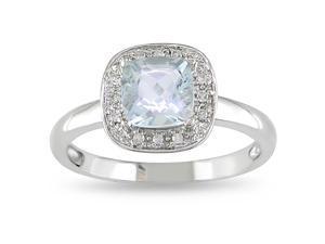 10k White Gold Aquamarine and Diamond Ring