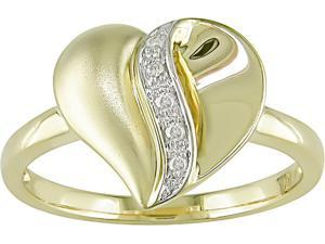 Diamond Accent Heart Ring in 10k Yellow Gold