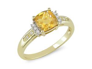 6mm Square Citrine and Diamond Accent Ring in 10k Yellow Gold, I2-I3