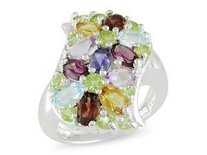 Sterling silver 3 1/3ct TGW oval and Rd mutli-colored gemstone ring.
