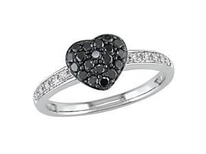 10KW 1/3ctw black and white diamond heart ring with black rhodium