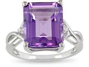 Sterling Silver Amethyst and White Topaz Ring