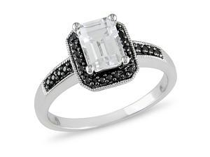 1/8 ct.t.w. Black Diamond and 1-1/3 ct.t.w. White Topaz Ring in 10k White Gold