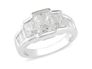 Silver Ring W/ 6x4-8x6mm Emerald Cut Crystal & 4x2mm Baguette Shape Crystal