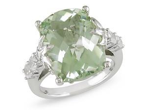0.02 CT Diamond & 10 CT TGW Green Amethyst & Created White Sapphire Ring Silver