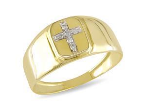 0.05 CT Diamond TW Mens Ring 10k Yellow Gold GHI I2&#59;I3