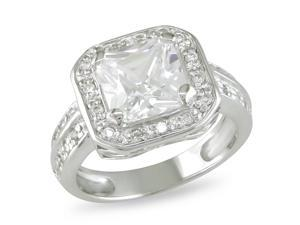 4 CT TGW White Cubic Zirconia Engagement Ring Silver