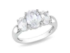 3 1/2 CT TGW Created White Sapphire 3 Stone Ring Silver