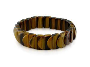 "8"" 16x15mm Fancy Shape Tiger Eye Bead Elastic Bracelet"