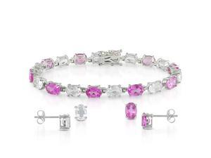 "3 pc Set of Silver 25ct TGW Created Pink Sapphire & White Topaz Stud Earrings & 7"" Bracelet"