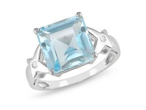 Blue Topaz and Diamond Accent Ring in 10k White Gold