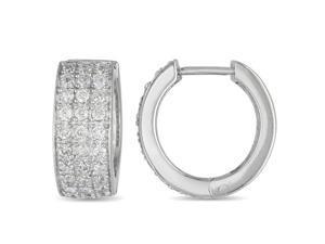 Sterling Silver 1.75mm Round Cubic Zirconia Huggie Earrings