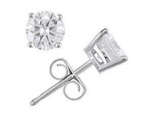 14K White Gold 1 ctw Diamond Solitaire Earrings