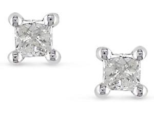 Silver 1/6ct TDW Diamond Solitaire Earrings