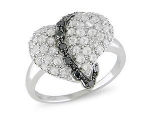 1ct Black & White Diamond TW Heart Ring Silver