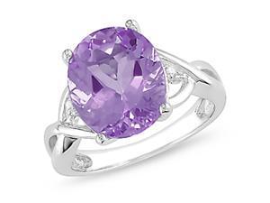 0.01ct Diamond TW & 4ct TGW Amethyst Fashion Ring Silver