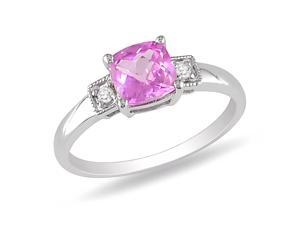 0.04ct Diamond TW & 1 1/4ct TGW Created Pink Sapphire Fashion Ring Silver