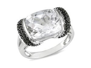 1/4ct Black Diamond TW & 7 1/2ct TGW White Topaz Fashion Ring 10k White Gold