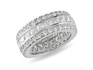 Sterling Silver Square and Round Cubic Zirconia Fancy Wide Eternity Band