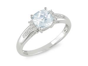 0.05ct Diamond TW & 4/5ct TGW Aquamarine Fashion Ring 10k White Gold