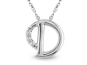 "Diamond Accent Initial Pendant in 10k White Gold, GHI, I2-I3, 17"""