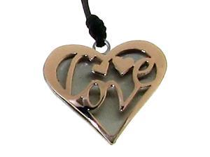 "Engraved ""Love"" on Heart Pendant on Black Cord in 2-Tone Italian Stainless Steel"