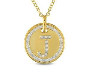 Diamond Accent Initial Pendant in Silver & Gold Plating, GHI, I3, 18""