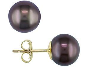 8-8.5mm Cultured Freshwater Black Pearl 10K Yellow Gold Earrings