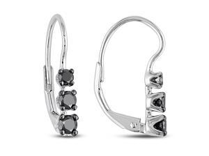 1/2 ct. Black Diamond Three-Stone Earrings in Silver, I2-I3