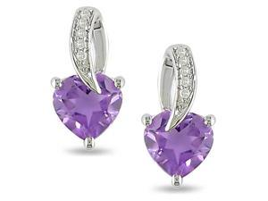 Silver Diamond Accent and 1 1/0 CT TGW Amethyst Earrings