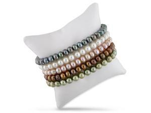 Set of 5 assorted color freshwater pearl bracelets.