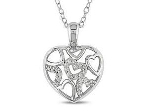 Sterling Silver 0.08 CT TDW Diamond Heart Pendant w/ Chain