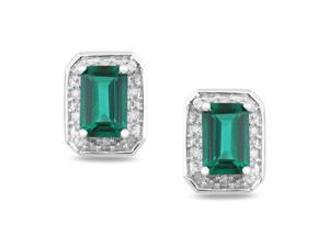 1/10 CT Diamond TW And 4/5 CT TGW Created Emerald Earrings in 10k White Gold