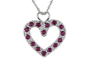 "Heart-Shaped round ruby pendant. 17"" light weight chain"