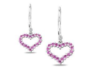 Silver Diamond Accent and 5/8 CT TGW Created Pink Sapphire Leverback Earrings