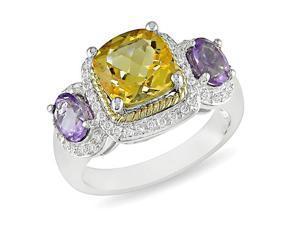 10K Yellow Gold 1/4 CT TDW Diamond & 2 7/8 CT TGW Citrine Amethyst Ring