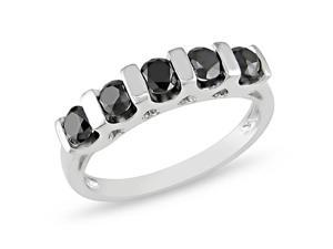 Silver  Black Rhodium Plated 1 CT TDW Black Diamond  Ring