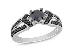 Silver  Black Rhodium Plated 1 CT TDW Black Diamond Engagement Ring
