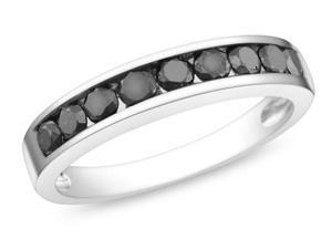 Silver  Black Rhodium Plated 3/4 CT TDW Black Diamond Ring