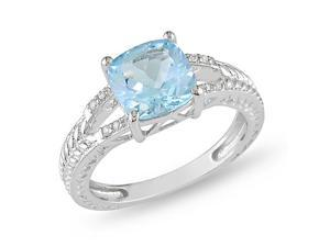 Silver 0.04 CT TDW Diamond & 2 1/2 CT TGW Blue Topaz - Sky Ring