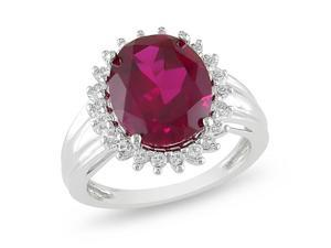 Silver 7 7/8 CT TGW Created Ruby & White Topaz Ring