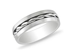 Stainless Steel Band with Braided Center Line Design