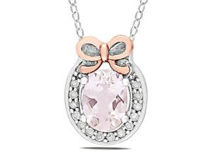 14k Pink Gold and Sterling Silver 4/5ct TGW Morganite 0.07ct TDW Bow Pendant (G-H, I2)