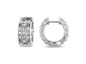 1/4 CT Diamond TW Hoop Earrings Silver