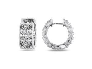 1/4 CT Diamond TW Hoop Earrings Silver